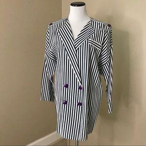 Vintage 80's Nautical Striped Long Blazer Jacket